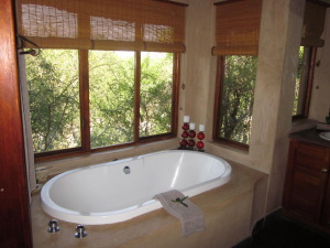 En suite bathroom with perfectly private views.