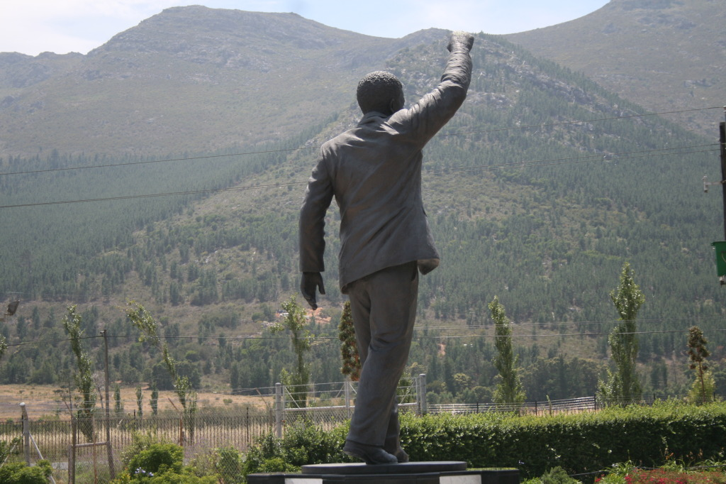 Statue of Nelson Mandela outside of the prison from which he was released.