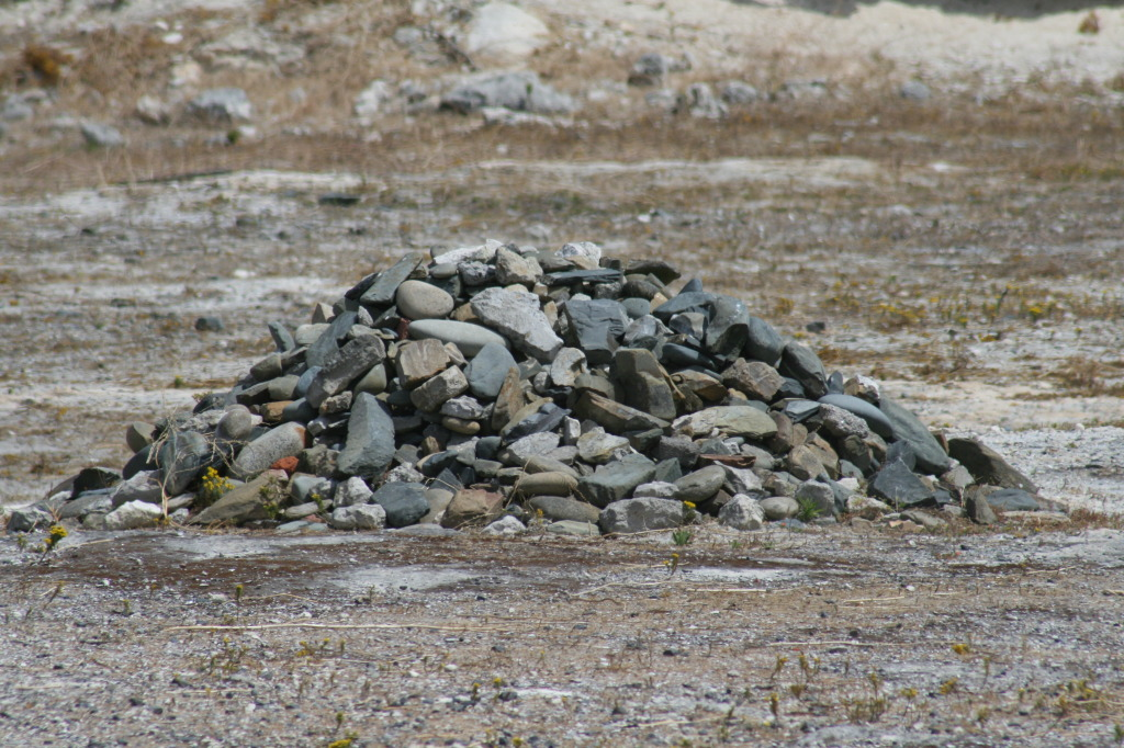 Symbolic pile of stones erected by a gathering of former political prisoners and friends to honor Mr. Mandela's release from prison, after 27 years behind bars.