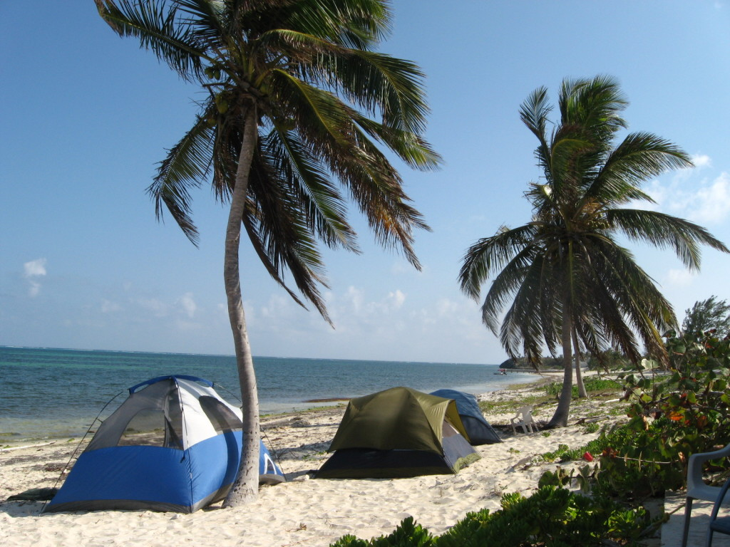 Camps on beach in the district of East End