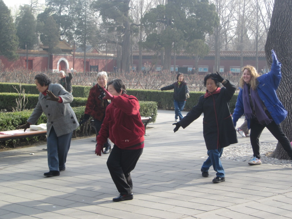 Group Tai chi routine in Jingshan Park, Beijing