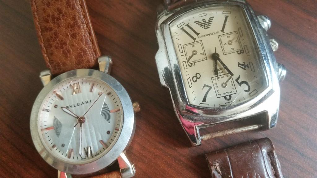 'Bvlgari' and 'Emporio Armani' watches