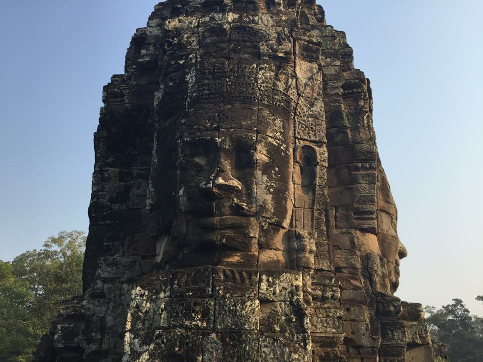 Massive carvings of faces at the world heritage site: Angok Wat in Cambodia