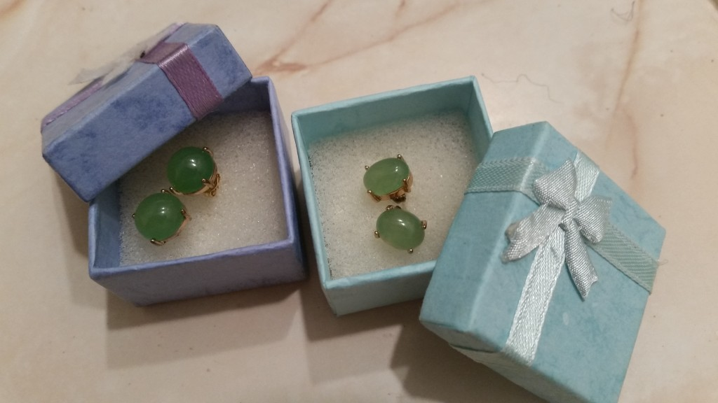 Chinese jade earrings bought at a jade factory