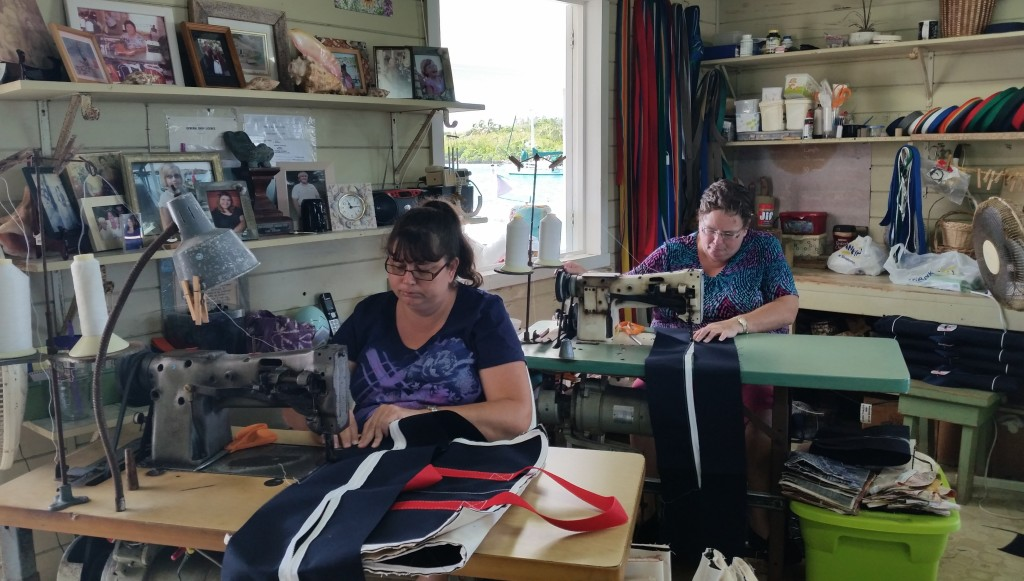 Ladies sewing canvas bags in Alburys Sail Shop