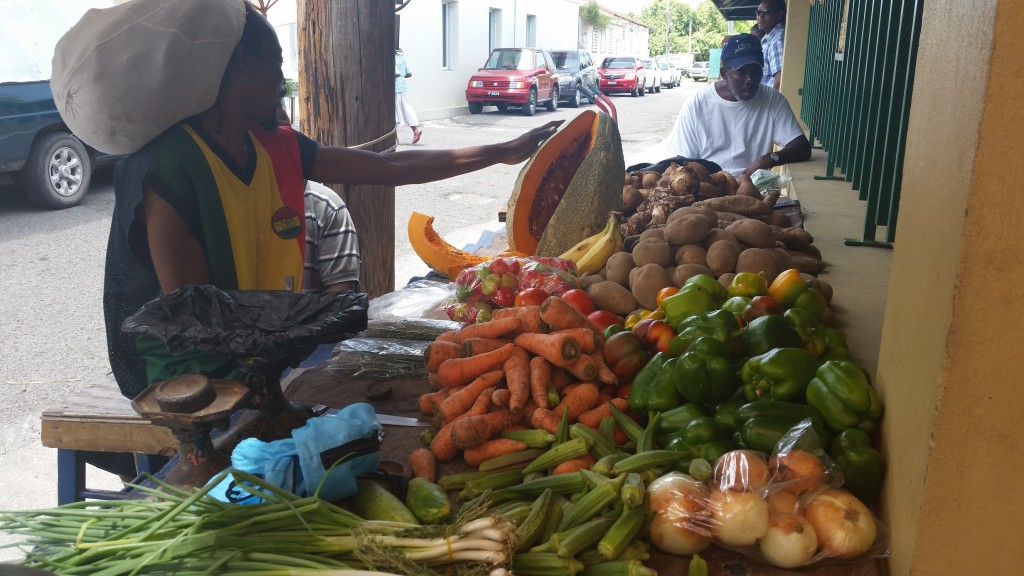 Vendor showing off his giant pumpkin at the local market in Charelestown, Nevis.