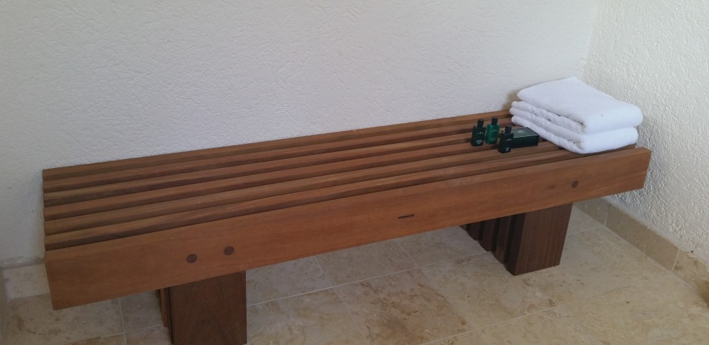 Bench with Towels and Hermes line of products