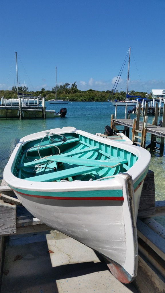 "The ""Yippee"" dinghy, built on Man-O-War Cay circa 1948 and displayed near the dock"