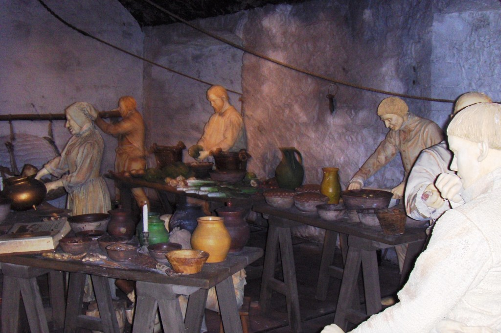 A replica of what a medieval kitchen looked like at Sterling Castle