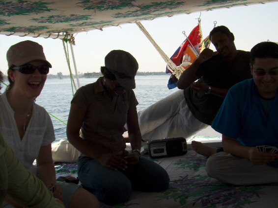 A relaxing game of cards in play along the River Nile