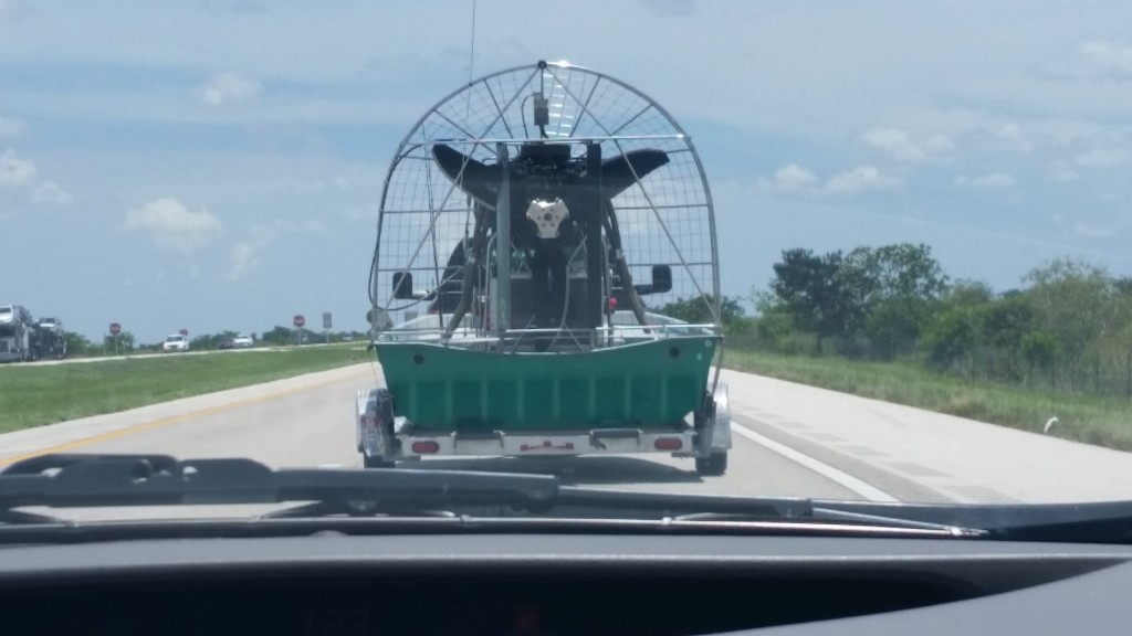 Airboat being transported on vehicle
