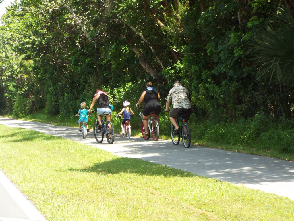 One of the many families seen cycling together in Sanibel