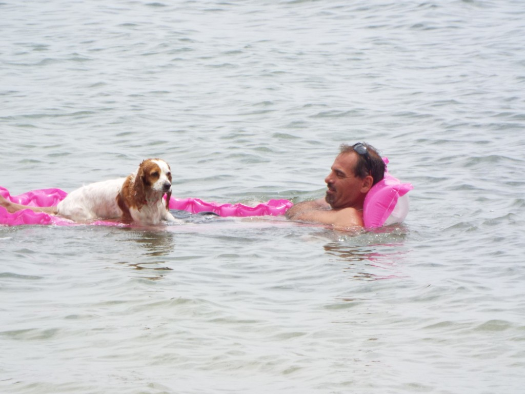 Man and dog floating in Sanibel