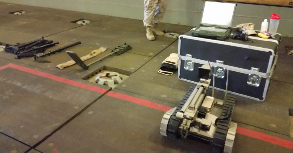 Bottom right is a robot that is sent ahead in battle to do reconnaissance, It has three cameras, goes up to 8 ½ inches in reach and zooms 800m from the laptop it is attached to. It weighs 50-60 pounds and travels up to six miles per hour. It comes equipped with about two hours of battery life.