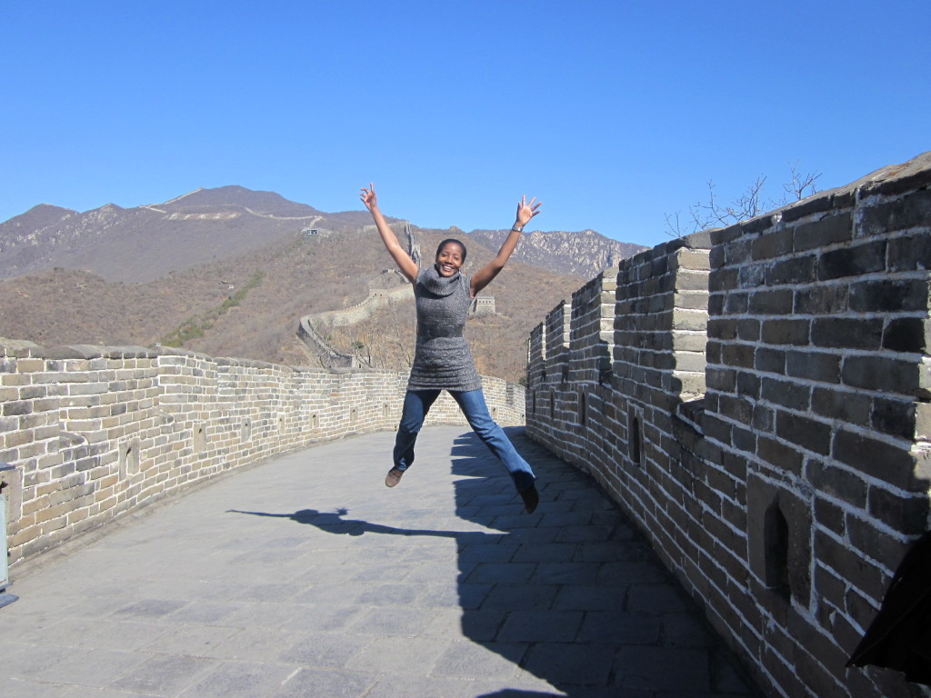 "That's the stance of someone happily thinking, ""I came, I saw and I conquered THE Great Wall""."
