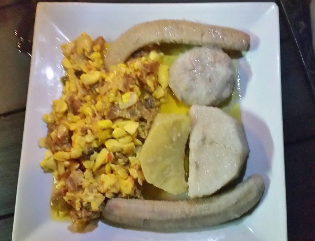 Ackee and corned por with boiled bananas and yellow yam