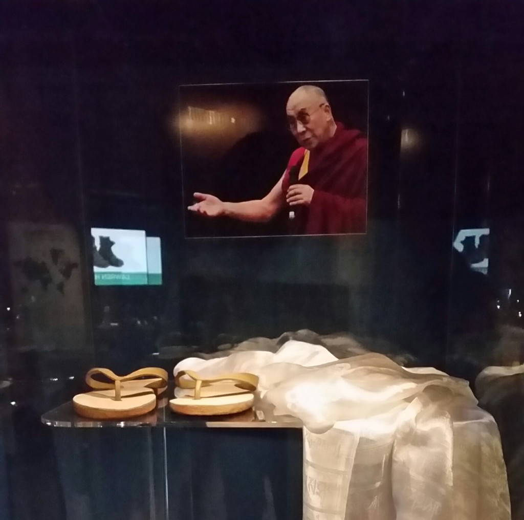 These Bata sandals, which show much sign of wear were donated by the 14th Dalai Lama in 2010.