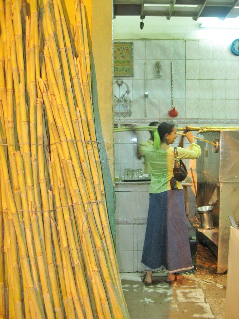 Making sugar cane juice in Egypt
