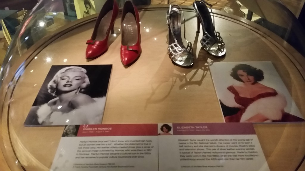 Hot-blooded movie star Marilyn Munroe wore these red stilettos suring a 1967 trip to Montreal and the glamorous Elizabeth Taylor wore these silver evening sandals at an event in the 1980s.