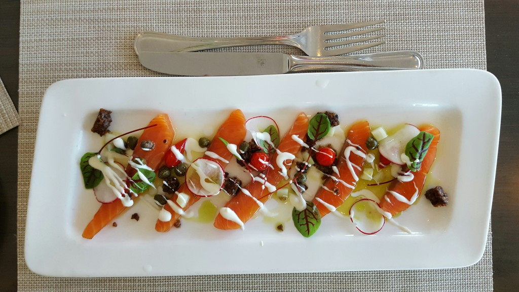 The colorful and tasty smoked salmon appetizer at 360 Resturant, CN Tower, Canada
