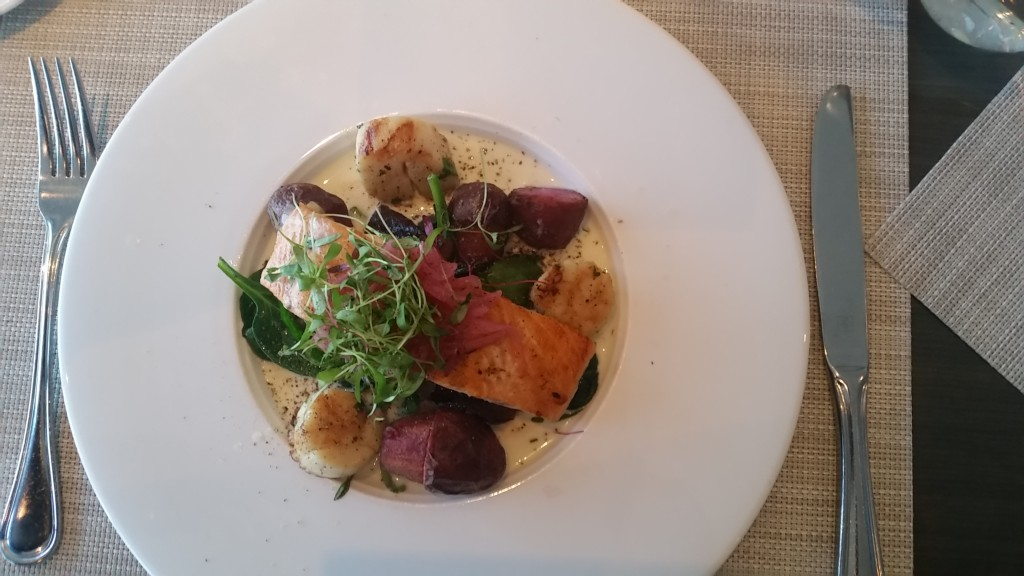 salmon and scallops at 360 Restaurant, CN Tower, Toronto