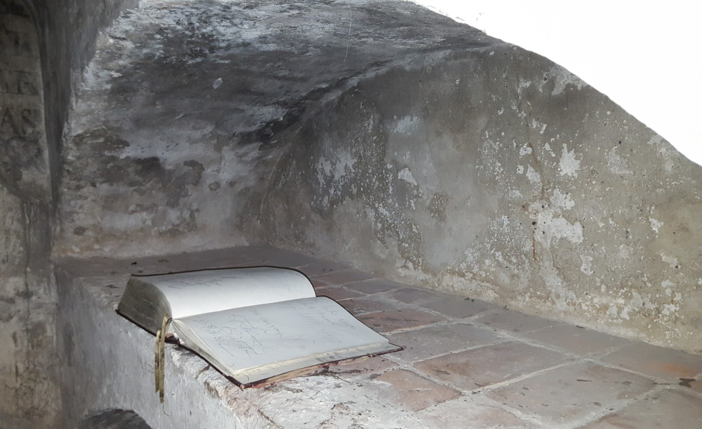 Lone book inside the crypt. Tell me, would you sign it?