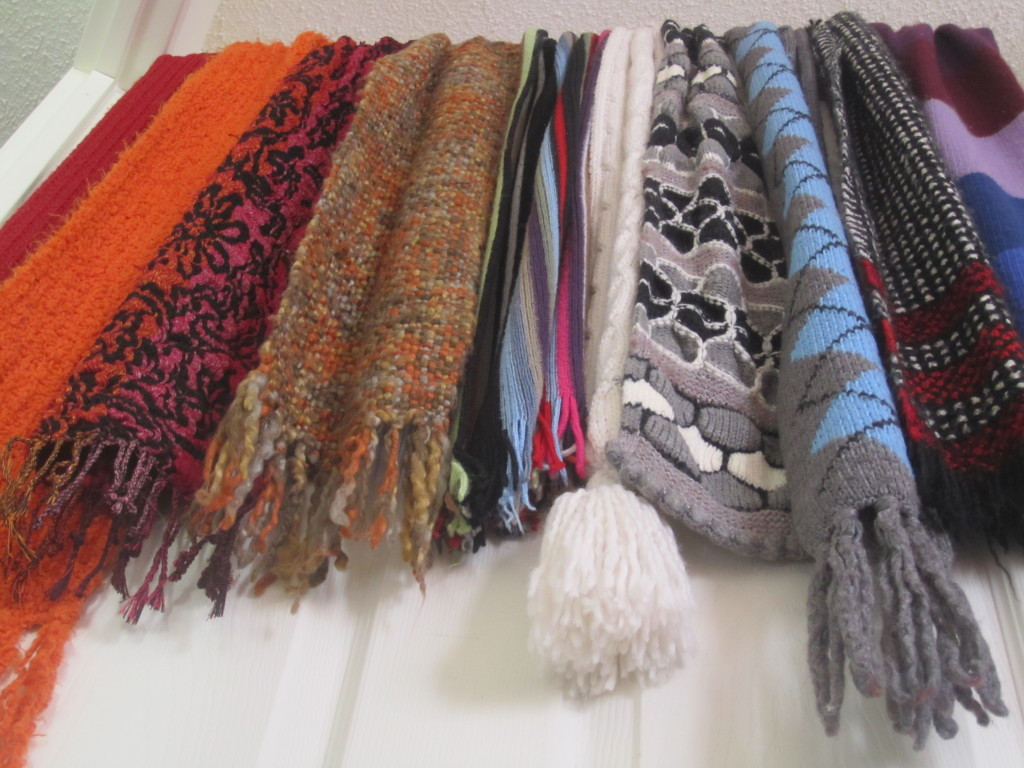 Multi-colored winter scarves