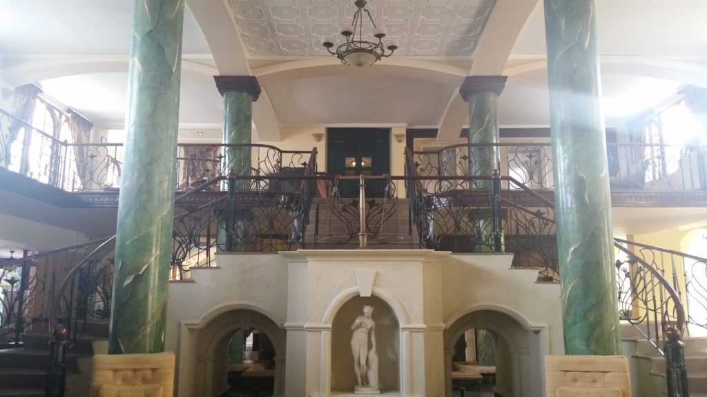 Dramatic staircase in the main lobby