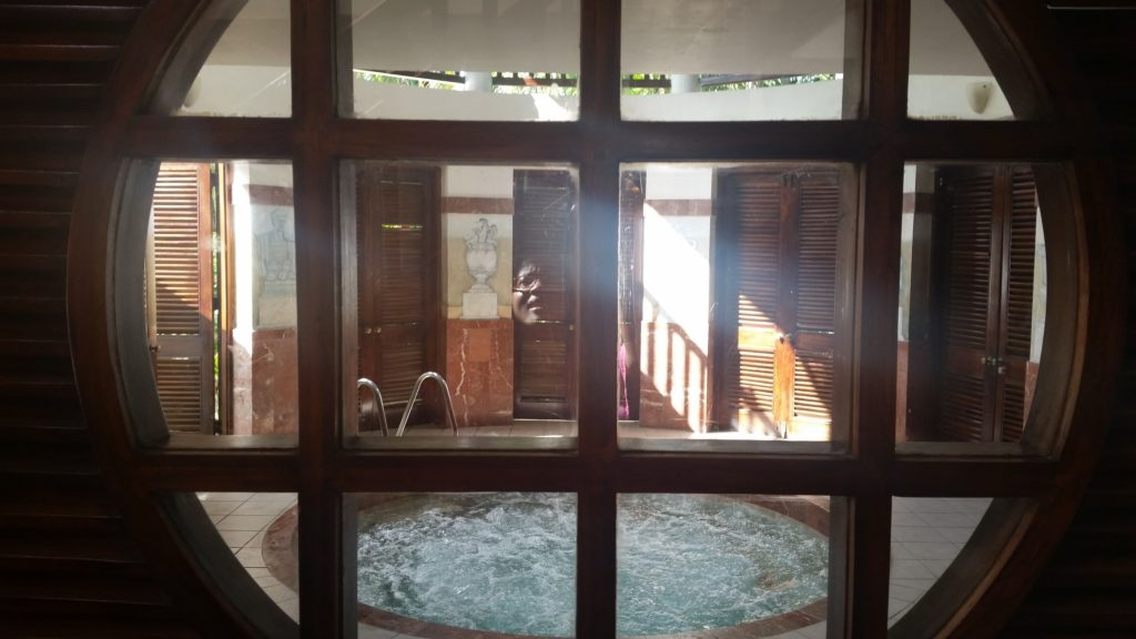 Hot tub area in the spa