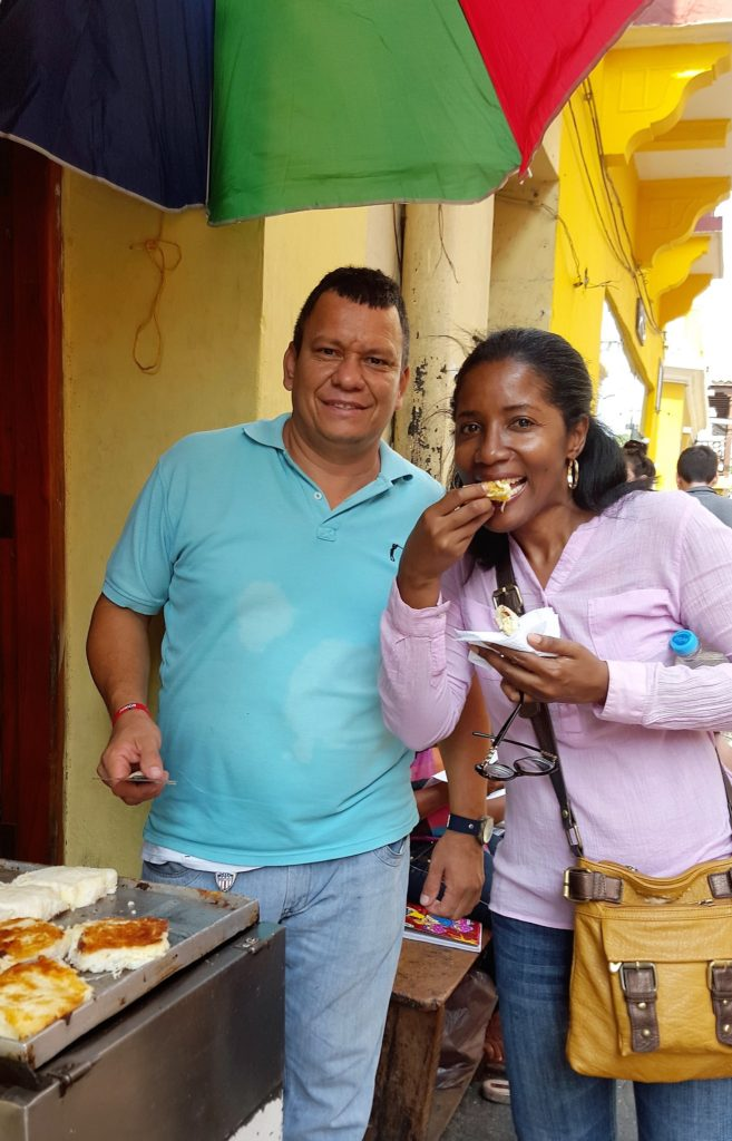 arepas in the street