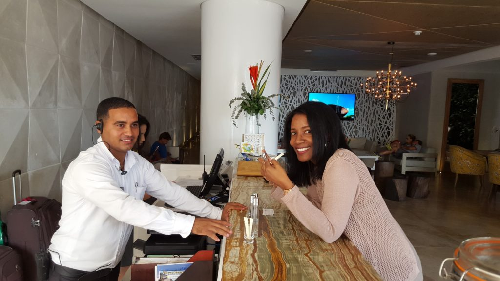 Front desk check-in at Allure Chocolat by Karisma Hotels & Resorts