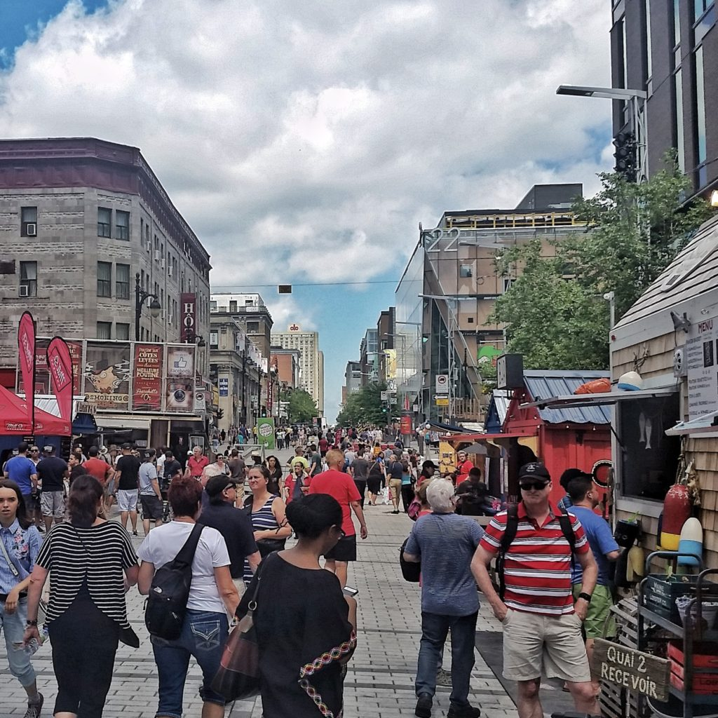Busy street scene in Montreal, Canada
