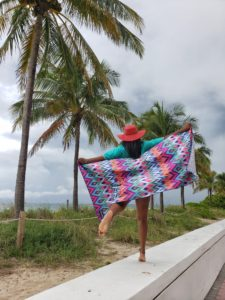 Jumping for joy with Tesalate sand free towel