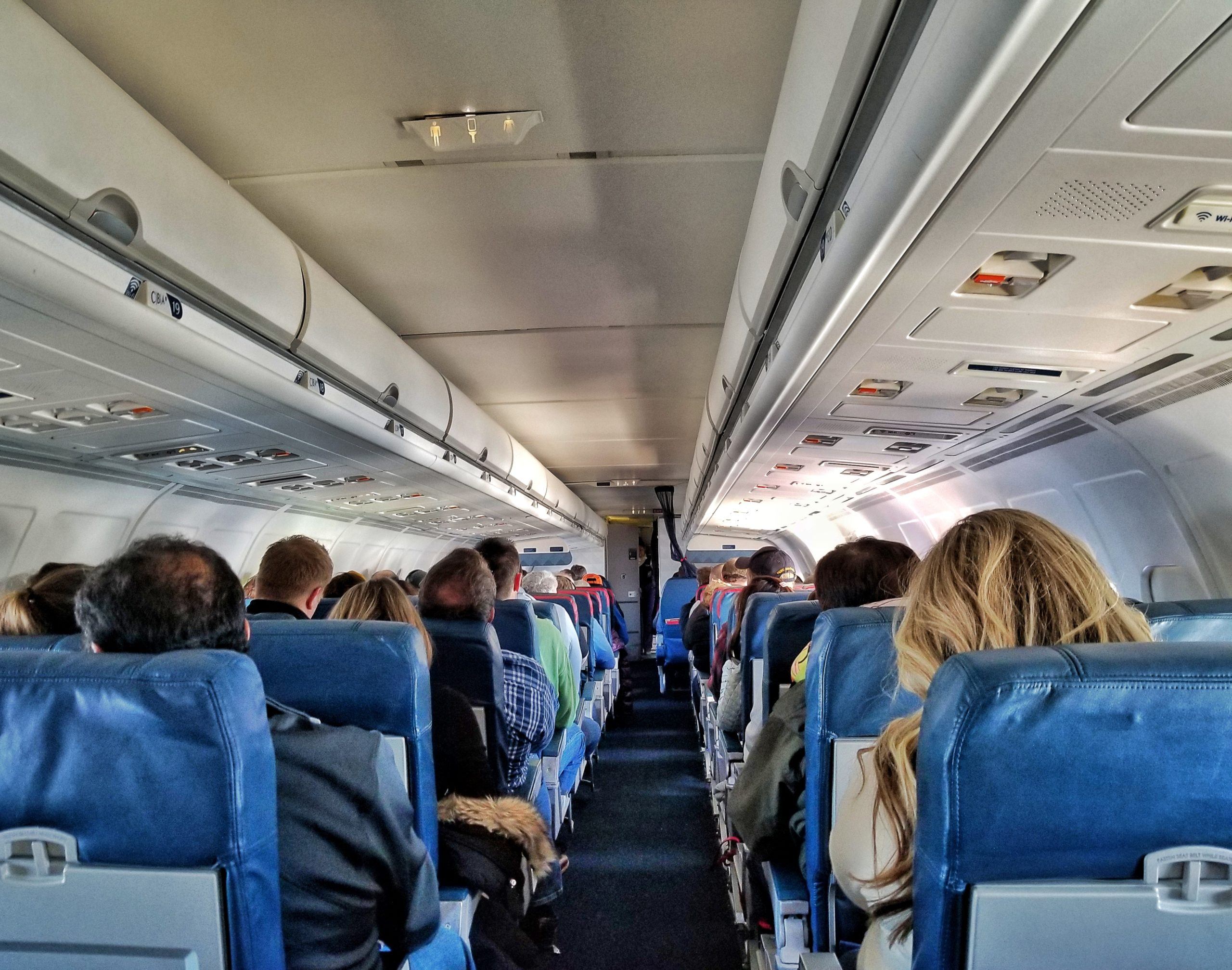 Image of people inside a plane