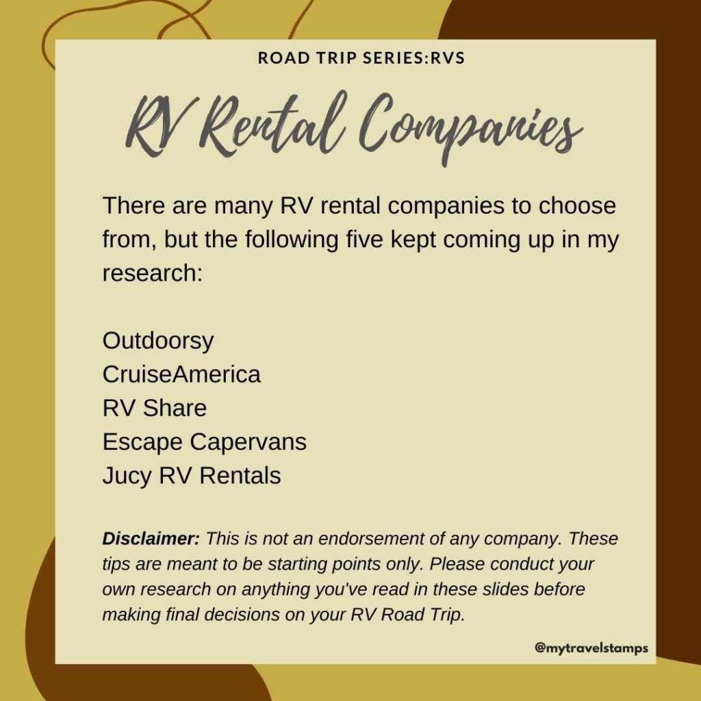 a List of companies that rent Rvs